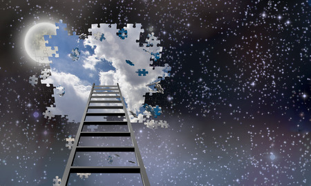 Ladder to Hole in Night Sky Reveals Day Time Skies  Foto de archivo