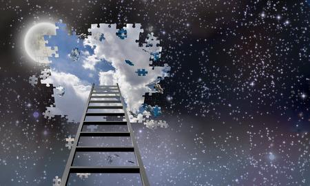 Ladder naar Hole in Night Sky onthult Dag Tijd Skies Stockfoto