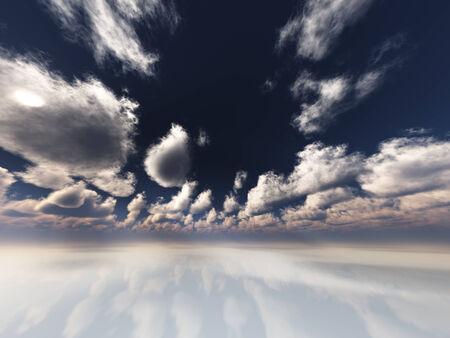 구름과 초현실적 인 흰색 반사 풍경 스톡 콘텐츠