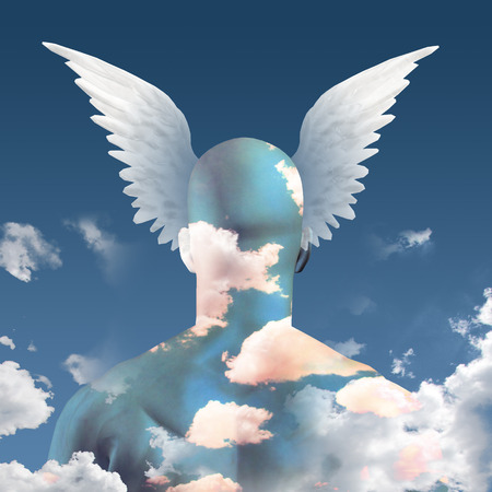 Wings and clouds upon head photo