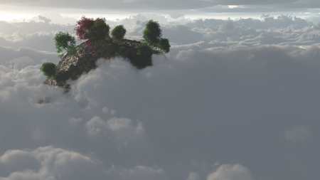 top of the world: Mountain Top in Clouds with trees