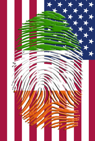 Ireland flag finger print over USA flag photo