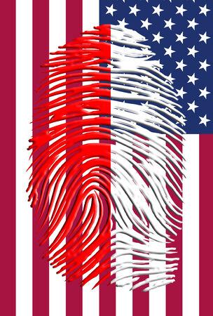 Poland Flag finger print and USA flag photo