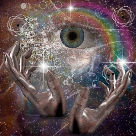 손은 우주의 원자 또는 다른 속성을 조작 스톡 콘텐츠