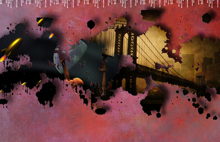 space wars: Pulp Art  Stock Photo