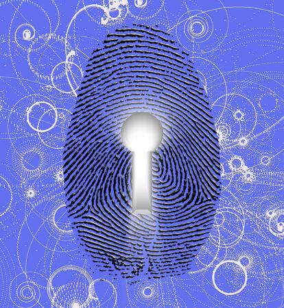 registry: Fingerprint lock and atomic particles Stock Photo