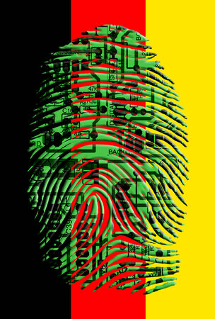 German flag circuit board fingerprint photo