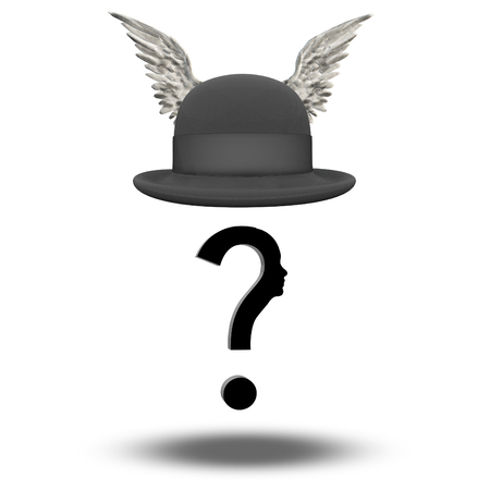Question Face with WInged Bowler Hat photo