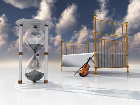 ヴァイオリンと砂時計が付いているベッド 写真素材