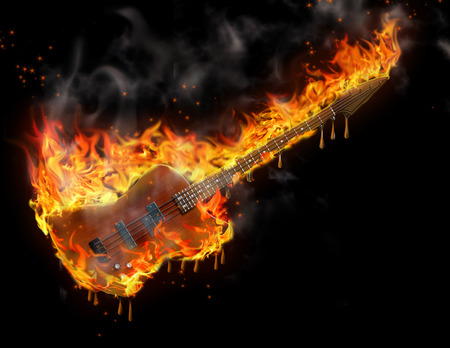 Burning smoking melting guitar in black space Stock Photo
