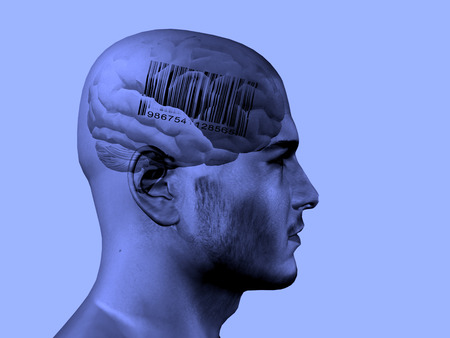 Barcode on brain Stock Photo