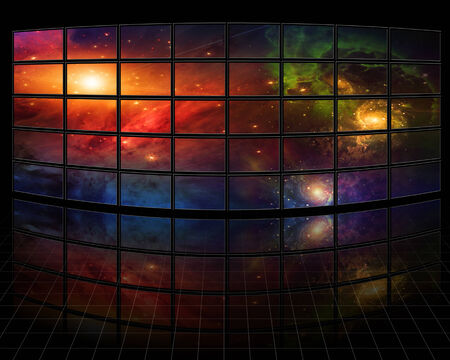 Galaxies and stars on screens in dark space photo