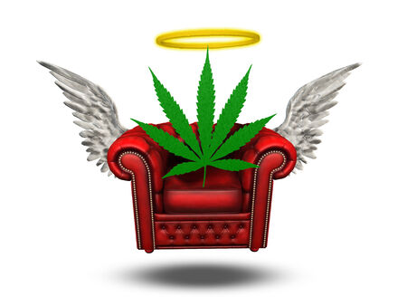 reefer: Winged Chair with Halo and Marijuana leaf Stock Photo