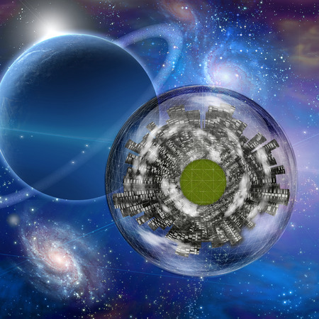 Large city ship orbits in space photo