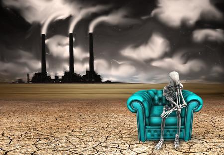 dystopia: Skeletal figure ponders