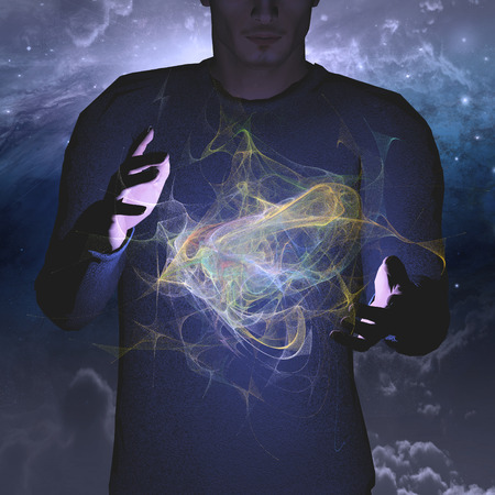 matter: Man manipuleert energie of materie Stockfoto