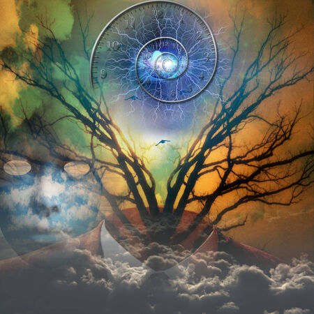 heaven and earth: Surreal artisitc image with time spiral Stock Photo
