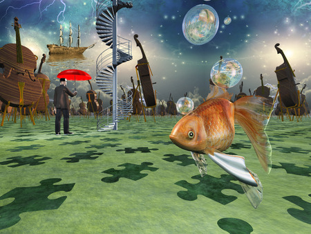 fantasy world: Surreal scene with various eelements Stock Photo