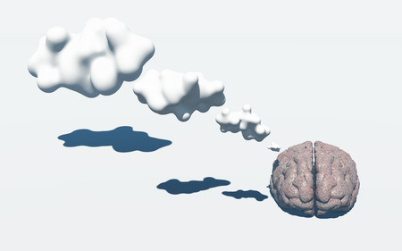 Brain with 3D Thought Clouds