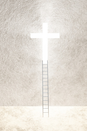 rise and shine: Ladder leads to bright cross