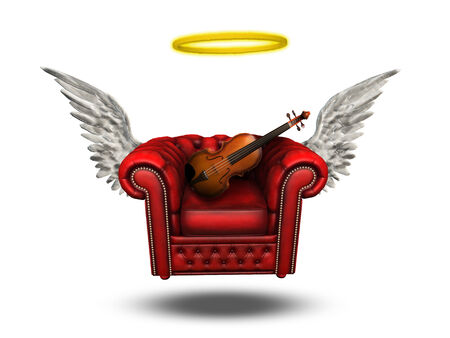 Winged Comfort Chair with Violin photo