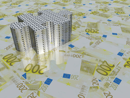 bank note: Euro and binary puzzle piece
