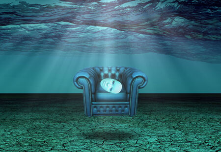 White Mask and armchair floats in underwater desert  Banco de Imagens