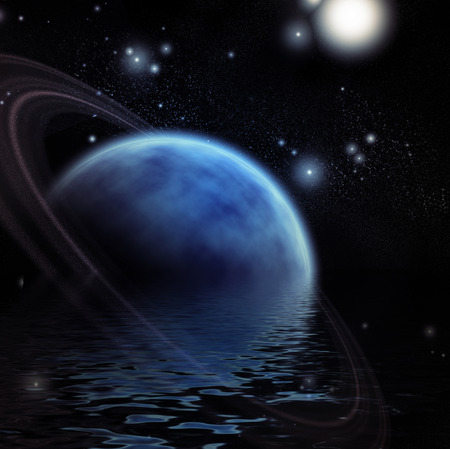 Ringed Planet and reflection in water photo