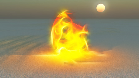 Fire burning in desert Sands Stock Photo - 26714221