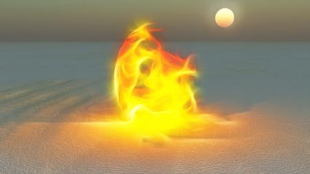 Fire burning in desert Sands Stock Photo - 26714221