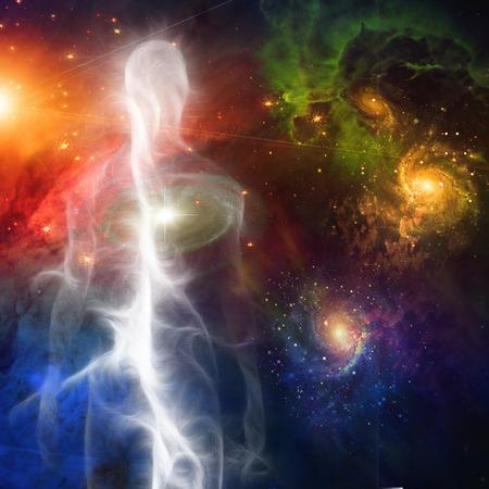 공간에 Smokelike 인간의 그림 스톡 콘텐츠