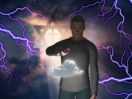 tora: Man Hovers Cloud with Star of David and Cross in Storm with God Rays