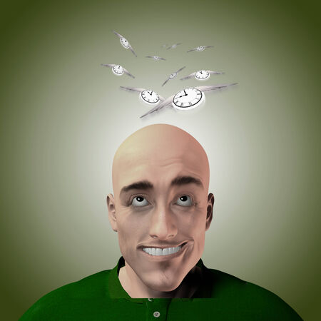 Cartoon man kijkt omhoog naar vliegen