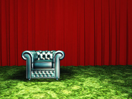 modern living room: Green Chair with red curtain