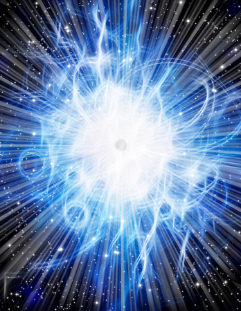 the shaft: Light burst with stars Stock Photo