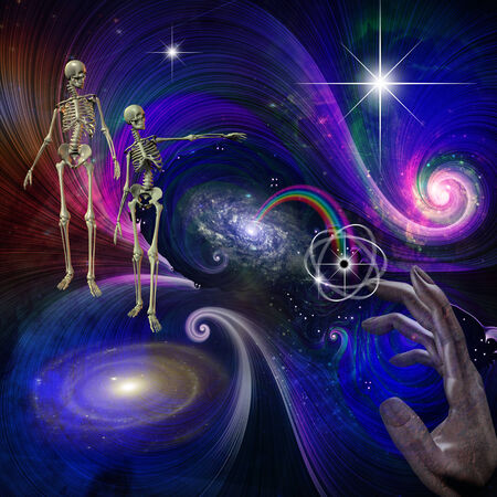 eternal life: Skeletal Figures in Cosmos Stock Photo