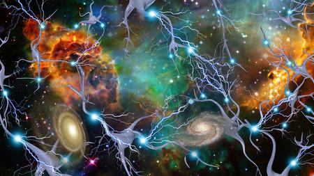 mente: Las células del cerebro y del Espacio Profundo Foto de archivo