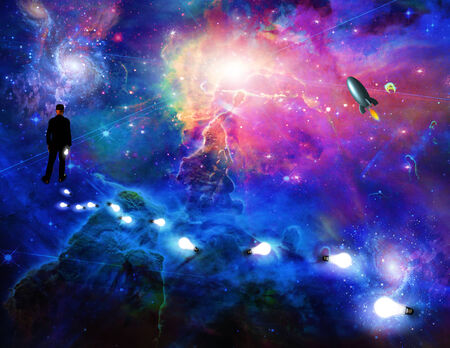 considering: Man considering the expanse of space
