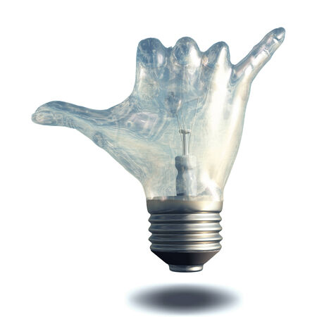 hang loose: Hang Loose Gesture Light Bulb Stock Photo