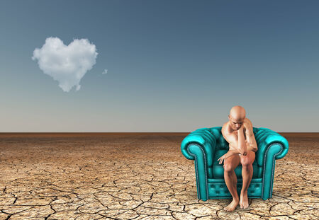 contemplates: Man contemplates in desert with heart shaped cloud