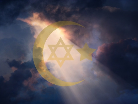 Jewish Star and Muslim Cresent photo