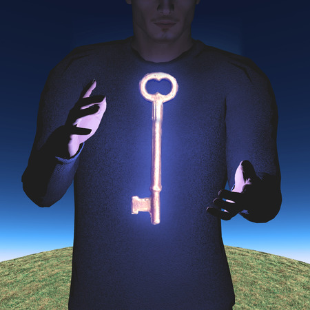 opportunity sign: Man with large skeleton key