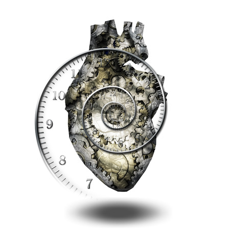 component parts: Human heart gears and time spirial