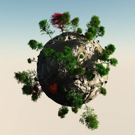 Small Planet with trees Stock Photo