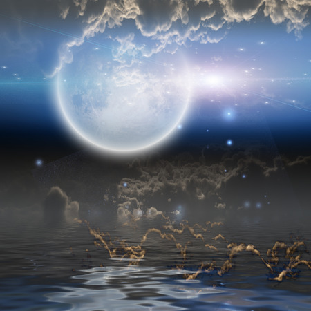 Moonrise over water with clouds photo
