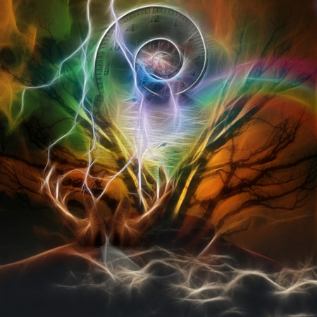 artisitc: Surreal artisitc image with time spiral Stock Photo