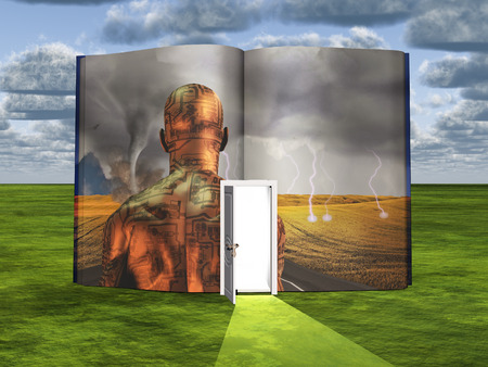 imagine a science: Book with science fiction scene and open doorway of light Stock Photo