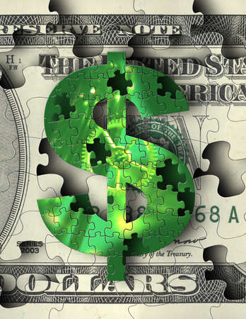 us currency: US Currency Puzzle Stock Photo