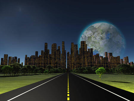 colonization: Terraformed moon as seen from highway on future earth