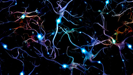 neurological: Brain Cells and Deep Space Stock Photo